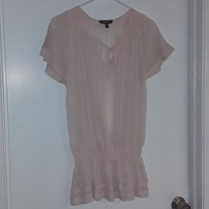 EXPRESS Sheer & Glittery Peasant Blouse